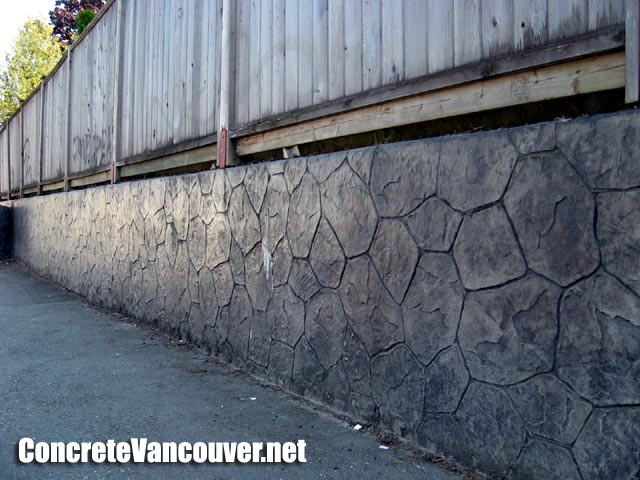 Stamped concrete retaining wall in burnaby bc canada - Decorating concrete walls ...