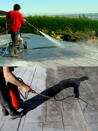 Pressure wash and seal stamped concrete