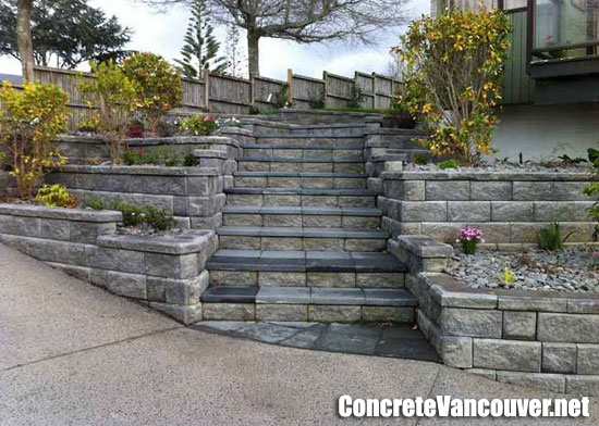 Decorative tiered allan block walls and steps