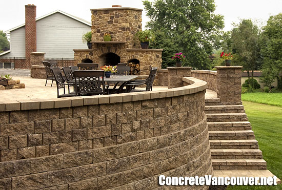 Block retaining walls and steps at patio deck