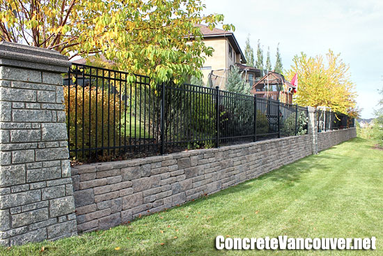 Block retaining walls privacy fence